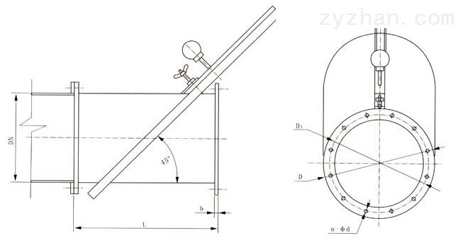 RGT309密闭式斜插板阀外形结构尺寸图