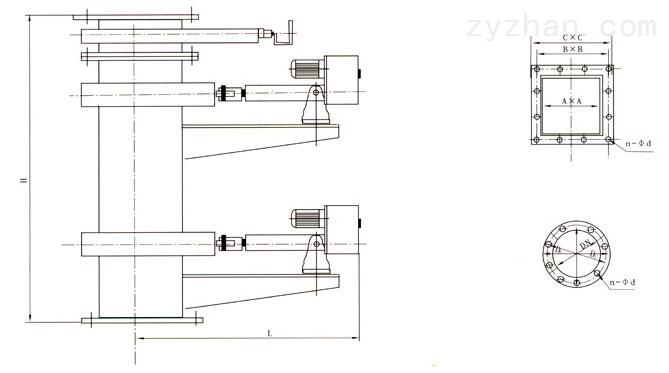 SDYCF-I、SDCF-I智能电液动插板式双层卸灰阀外形结构尺寸图