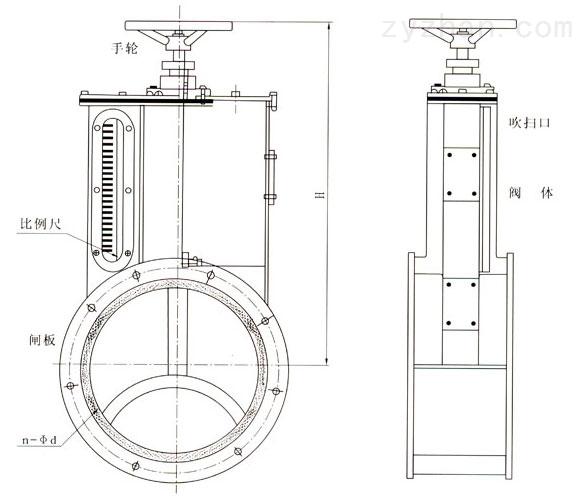 TZW型手动升降比例阀外形结构尺寸图