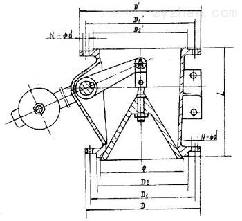 XH40X-8型钟型卸灰阀外形结构尺寸图