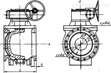 XF5900B型球式防腐偏心旋塞阀外形结构尺寸图