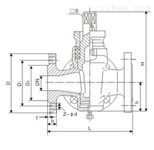 X44W手动三通全铜法兰式旋塞阀主要连接尺寸图