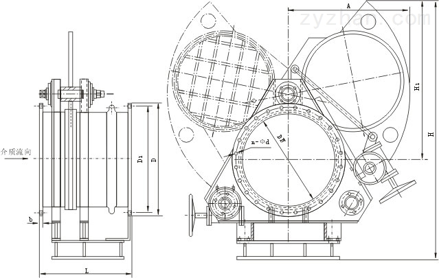 F9T43X电动推杆扇形眼镜阀外形结构尺寸图