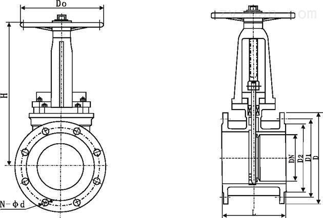 PZ43Y、PZ43F、PZ43H型法兰式长型刀型闸阀(手动刀闸阀)外形结构尺寸