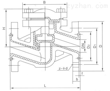 H41J-10衬胶升降式止回阀主要外形和连接尺寸图