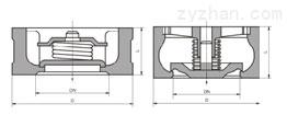H71H、H71W型对夹升降式止回阀PN10~PN40外形尺寸图